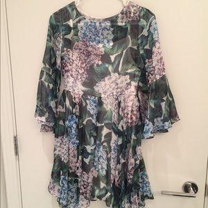 Floral hydrangea mini dress size S